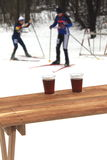 Hot tea in the winter. For skiers Royalty Free Stock Photo
