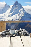 Hot tea in winter mountains Royalty Free Stock Photography