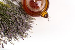 Hot teapot with lavender. stock photos