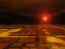 Hot Technology Horizon. An abstract horizon perspective and electronic technology background royalty free illustration