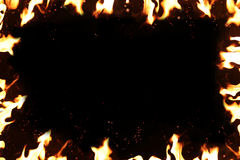 Hot temperature fire frame. Background Stock Photo