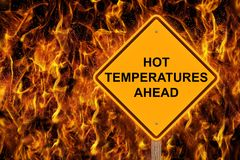 Hot Temperatures Warning Sign Stock Photography