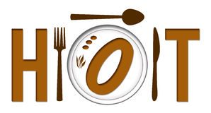 Hot Text With Food Plate Stock Photography