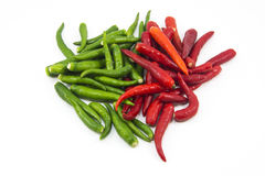 Hot thai chilli peppers on white background Stock Photo