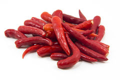 Hot thai chilli peppers on white background Royalty Free Stock Images
