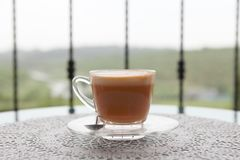 Hot thai tea on a cup. In close up stock photo