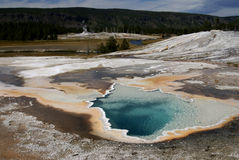 Hot thermal pool, Yellowstone park, USA. View on one of Yellowstone's hot thermal pool, Midway geysers basin Yellowstone national park, USA royalty free stock image