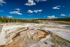 Hot thermal spring in Yellowstone. National Park, Wyoming, USA Royalty Free Stock Image