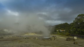 Hot thermal springs in Furnas village, Sao Miguel island, Azores, Portugal stock footage