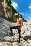 Hot Thirsty Man Drinking Water Drink After Running Outdoors. Spo Stock Photos