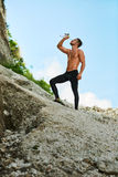 Hot Thirsty Man Drinking Water Drink After Running Outdoors. Sport Royalty Free Stock Photos