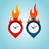 Hot time place logo concept with fire isolated on blue background. Point marker with timer logo concept. Quick delivery design. Vector illustration EPS 10 royalty free illustration