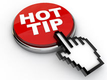 Hot Tip. Button with cursor hand over white background Royalty Free Stock Photos