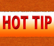 Hot tip. Illustration of hot tip on the background of cut leather Royalty Free Stock Photography