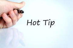 Hot tip text concept. Isolated over white background Stock Photography