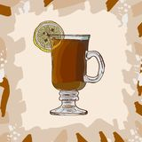 Hot Toddy classic warm cocktail illustration. Alcoholic warm bar drink hand drawn vector. Pop art menu image item royalty free illustration