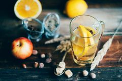 Hot toddy drink (apple orange rum punch) for Christmas and winter holidays - festive Christmas homemade drinks royalty free stock images