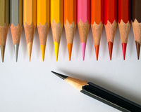 Hot tone of color pencil Stock Image