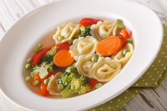 Hot tortellini soup with broccoli, peas, carrot and pepper close Royalty Free Stock Images