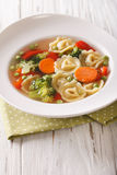 Hot tortellini soup with broccoli, peas, carrot and pepper close Royalty Free Stock Photos