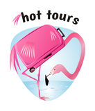 Hot tours - banner for travel companies, vector template illustr Royalty Free Stock Photos