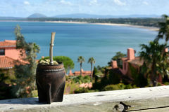 Mate drink in the point of view of Ballena Bay, Uruguay Royalty Free Stock Photography