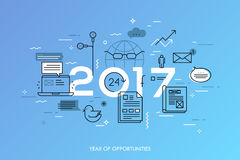 Hot trends and predictions in global communication, social media, internet blogs, online instant messengers. Infographic concept, 2017 - year of opportunities Stock Photography