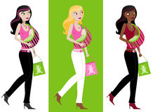 Hot Trendy Mama. Stylish young Mama with shopping bag, holding her baby in a sling - three different color variations Royalty Free Stock Photos