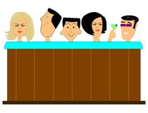 Hot tub. Full of people  in sixties style over white Royalty Free Stock Photos