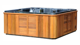Hot Tub. Large Hot Tub, in a wooden enclosure stock photo