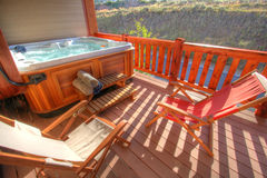 Hot tub and back patio Royalty Free Stock Photo