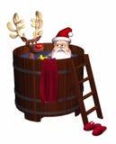 Hot Tub Santa. Computer-generated 3D cartoon illustration depicting Santa Claus and a reindeer in a hot tub vector illustration