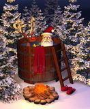 Hot Tub Santa Scene. Computer-generated 3D cartoon illustration depicting Santa Claus and a reindeer in a hot tub royalty free illustration