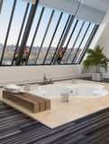 Hot tub or spa bath in a modern bathroom Royalty Free Stock Photos