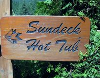 Hot Tub and Sundeck direction sign Stock Images