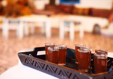 Hot tunisian tea on the tray Stock Image