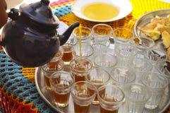 Hot tunisian tea on the tray in the cafe Stock Photo