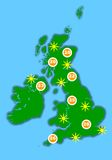 Hot UK weather map Stock Photography