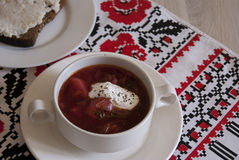 Hot Ukrainian borscht and lard Royalty Free Stock Photos