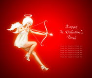 Hot Valentine Angel. Cute St. Valentine's Day Card Vith Flying Angel Royalty Free Stock Photo