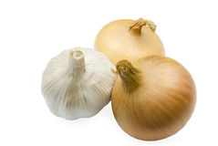 Hot vegetable. Garlic and onions are hot vegetables Stock Photos