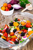 Hot Vegetable Salad with Olives and Feta Royalty Free Stock Image