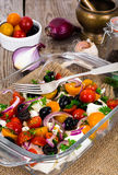 Hot Vegetable Salad with Olives and Feta Stock Photography