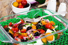 Hot Vegetable Salad with Olives and Feta Stock Image