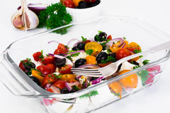 Hot Vegetable Salad with Olives and Feta Stock Photos
