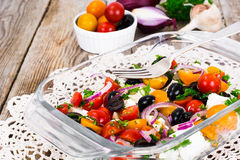 Hot Vegetable Salad with Olives and Feta Royalty Free Stock Photography