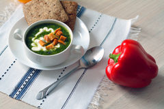Hot vegetable soup in a bowl Stock Image