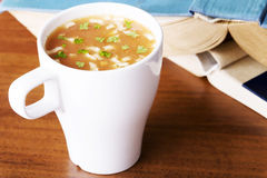 Hot vegetable soup in a cup. Royalty Free Stock Images