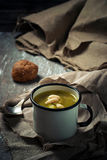 Hot vegetable soup in mug Royalty Free Stock Photography