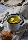 Hot vegetable soup in mug Royalty Free Stock Images